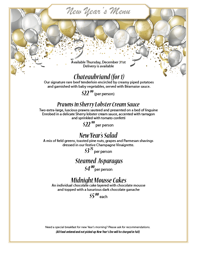 New Year's Menu